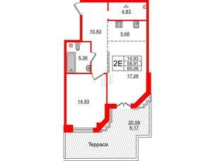 Квартира в ЖК Альтер, 1 комнатная, 65.08 м², 2 этаж