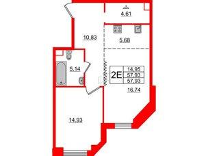 Квартира в ЖК Альтер, 1 комнатная, 57.93 м², 5 этаж