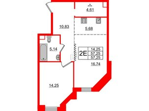 Квартира в ЖК Альтер, 1 комнатная, 57.25 м², 7 этаж