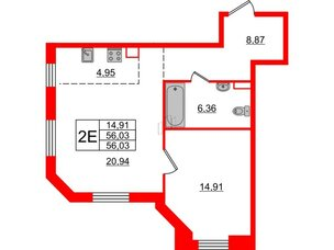 Квартира в ЖК Альтер, 1 комнатная, 56.03 м², 7 этаж