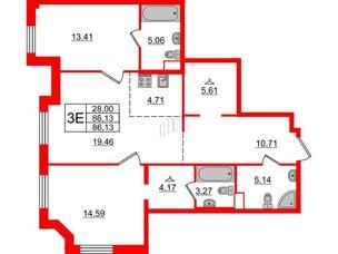 Квартира в ЖК Альтер, 2 комнатная, 86.13 м², 8 этаж