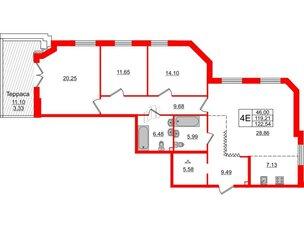 Квартира в ЖК Альтер, 3 комнатная, 122.54 м², 2 этаж