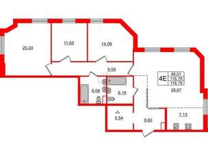 Квартира в ЖК Альтер, 3 комнатная, 118.74 м², 4 этаж