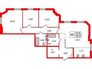 Квартира в ЖК Альтер, 3 комнатная, 118.19 м², 6 этаж