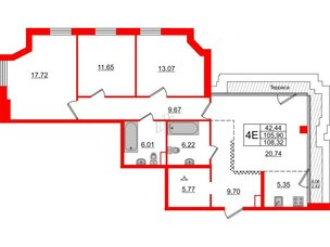 Квартира в ЖК Альтер, 3 комнатная, 108.32 м², 11 этаж