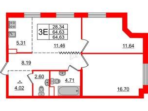 Квартира в ЖК Альтер, 2 комнатная, 64.63 м², 8 этаж