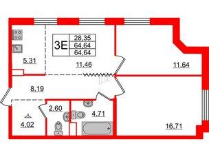 Квартира в ЖК Альтер, 2 комнатная, 64.64 м², 11 этаж