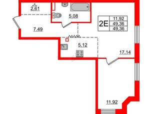 Квартира в ЖК Альтер, 1 комнатная, 49.36 м², 8 этаж