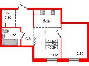 Квартира в ЖК Альтер, 1 комнатная, 46.29 м², 4 этаж