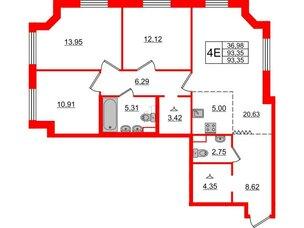 Квартира в ЖК Альтер, 3 комнатная, 93.35 м², 8 этаж