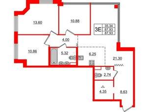 Квартира в ЖК Альтер, 3 комнатная, 87.93 м², 12 этаж