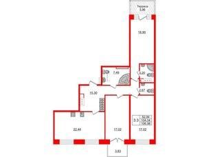 Квартира в ЖК GRAND VIEW, 3 комнатная, 104.04 м², 7 этаж