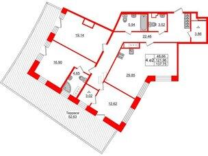 Квартира в ЖК GRAND VIEW, 3 комнатная, 121.96 м², 7 этаж