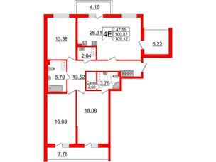 Квартира в ЖК «Солнечный город», 3 комнатная, 100.87 м², 3 этаж