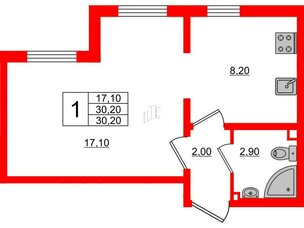 Квартира в ЖК Цветной город, 1 комнатная, 30.2 м², 1 этаж