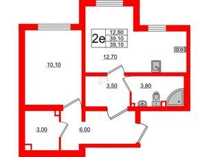 Квартира в ЖК Цветной город, 1 комнатная, 39.1 м², 1 этаж