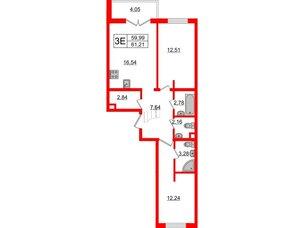 Квартира в ЖК «Новое Горелово», 2 комнатная, 61.21 м², 2 этаж