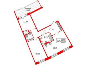 Квартира в ЖК GRAND VIEW, 2 комнатная, 87.2 м², 8 этаж