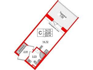 Квартира в ЖК Зеленый квартал на Пулковских высотах, студия, 20.86 м², 5 этаж