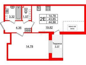Квартира в ЖК Зеленый квартал на Пулковских высотах, 1 комнатная, 43.85 м², 5 этаж