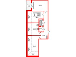 Квартира в ЖК Зеленый квартал на Пулковских высотах, 3 комнатная, 77.56 м², 5 этаж