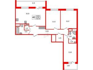 Квартира в ЖК «Чистое небо», 3 комнатная, 97.87 м², 2 этаж
