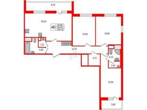 Квартира в ЖК «Чистое небо», 3 комнатная, 98.29 м², 10 этаж