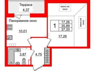 Квартира в ЖК Зеленый квартал на Пулковских высотах, 1 комнатная, 35.89 м², 5 этаж