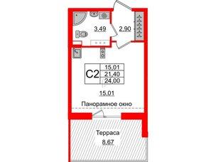 Квартира в ЖК Зеленый квартал на Пулковских высотах, студия, 21.4 м², 5 этаж