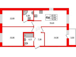 Квартира в ЖК ID Кудрово, 3 комнатная, 75.35 м², 2 этаж