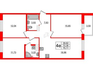 Квартира в ЖК ID Кудрово, 3 комнатная, 75.11 м², 4 этаж