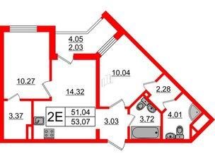 Квартира в ЖК «Новое Горелово», 2 комнатная, 53.07 м², 1 этаж
