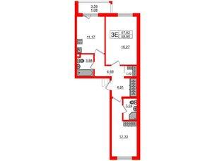 Квартира в ЖК «Новое Горелово», 2 комнатная, 58.9 м², 1 этаж
