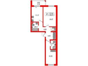 Квартира в ЖК «Новое Горелово», 2 комнатная, 58.97 м², 2 этаж
