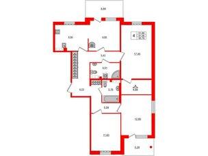 Квартира в ЖК «Юттери», 4 комнатная, 95.78 м², 5 этаж