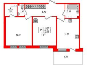 Квартира в ЖК «Юттери», 2 комнатная, 54.59 м², 5 этаж