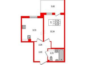 Квартира в ЖК «Юттери», 1 комнатная, 33.2 м², 5 этаж