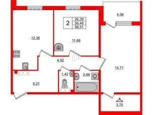 Квартира в ЖК «Юттери», 2 комнатная, 58.51 м², 5 этаж