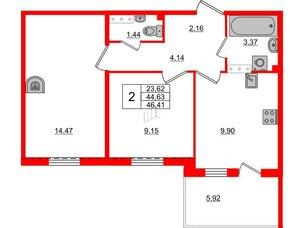 Квартира в ЖК «Юттери», 2 комнатная, 46.41 м², 5 этаж