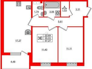 Квартира в ЖК «Юттери», 2 комнатная, 57.27 м², 5 этаж