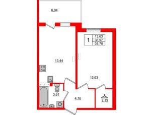Квартира в ЖК «Юттери», 1 комнатная, 38.78 м², 5 этаж