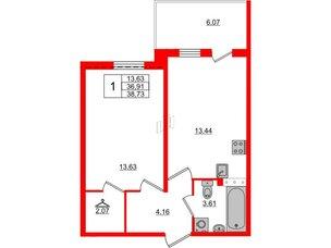 Квартира в ЖК «Юттери», 1 комнатная, 38.73 м², 5 этаж