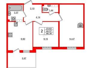 Квартира в ЖК «Юттери», 2 комнатная, 46.36 м², 5 этаж