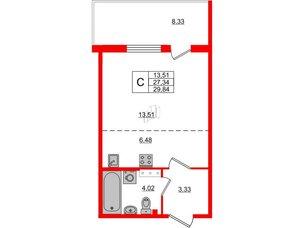 Квартира в ЖК «Юттери», студия, 29.84 м², 5 этаж