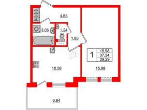 Квартира в ЖК «Юттери», 1 комнатная, 39.29 м², 5 этаж