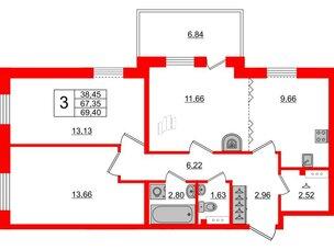 Квартира в ЖК «Юттери», 3 комнатная, 66.29 м², 5 этаж