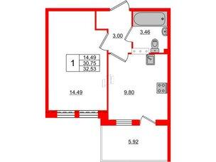Квартира в ЖК «Юттери», 1 комнатная, 32.53 м², 5 этаж