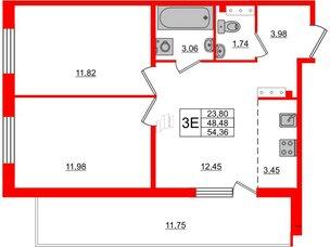 Квартира в ЖК «Юттери», 2 комнатная, 54.36 м², 5 этаж