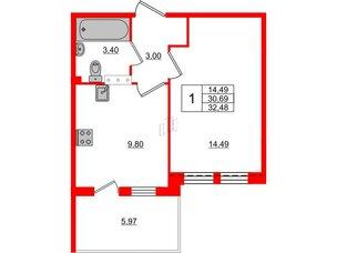 Квартира в ЖК «Юттери», 1 комнатная, 32.48 м², 5 этаж