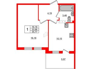Квартира в ЖК «Юттери», 1 комнатная, 35.77 м², 5 этаж